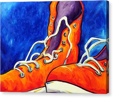 Orange Sneakers Canvas Print