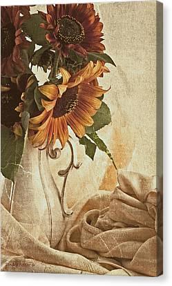 Orange Sunflowers - Found In The Attic Canvas Print