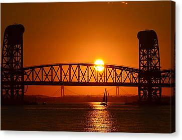 Canvas Print featuring the photograph Orange Sunset Brooklyn Bridges Sailboat by Maureen E Ritter