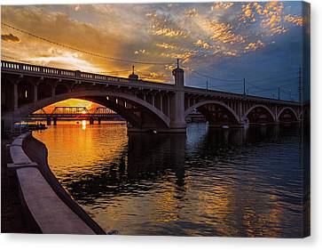 Canvas Print featuring the photograph Orange Sunset Over Tempe Town Lake by Dave Dilli