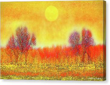 Canvas Print featuring the digital art Orange Sunset Shimmer - Field In Boulder County Colorado by Joel Bruce Wallach