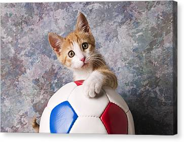 Orange Tabby Kitten With Soccer Ball Canvas Print by Garry Gay