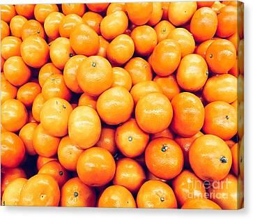 Orange Tangerines In Fruit Market Canvas Print