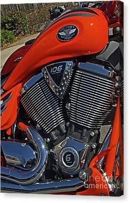 Atlanta Convention Canvas Print - Orange Victory Motorcycle by Corky Willis Atlanta Photography