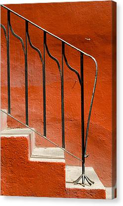 Orange Wall And Steps. Canvas Print by Rob Huntley