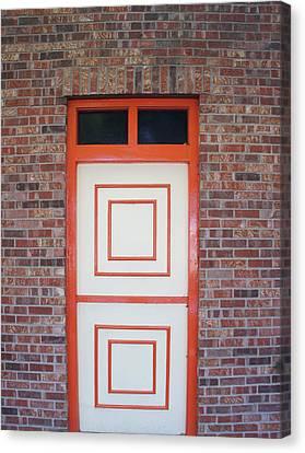Orange White Door Canvas Print by Art Spectrum
