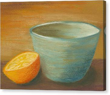 Orange With Blue Ramekin Canvas Print by Cheryl Albert