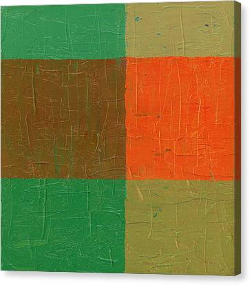 Orange With Brown And Teal Canvas Print by Michelle Calkins