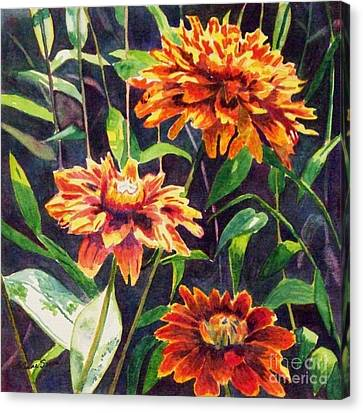 Canvas Print featuring the painting Orange Zinnias by LeAnne Sowa