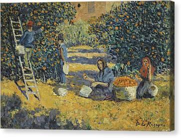 Orangers. Valencia Canvas Print by Dario de Regoyos