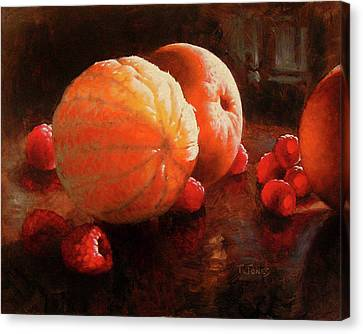 Oranges And Raspberries Canvas Print by Timothy Jones
