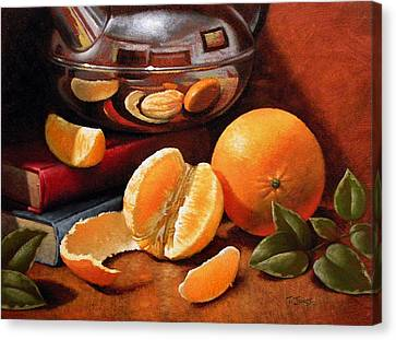 Oranges And Teapot Canvas Print by Timothy Jones