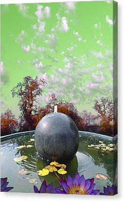 Canvas Print featuring the photograph Orb Fountain by John Norman Stewart