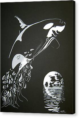 Canvas Print featuring the drawing Orca Sillhouette by Mayhem Mediums