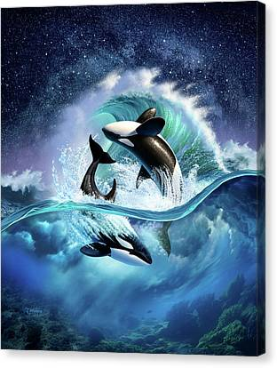 Orca Wave Canvas Print by Jerry LoFaro