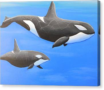 Orca With Baby Canvas Print