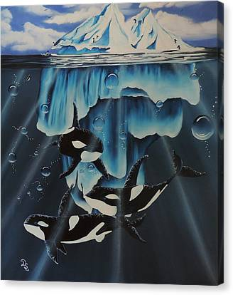 Canvas Print featuring the painting Orcas Versus Glacier by Dianna Lewis