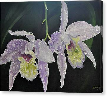 Canvas Print featuring the painting Orchid Jewels by AnnaJo Vahle