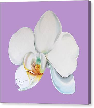 Canvas Print featuring the digital art Orchid On Lilac by Elizabeth Lock