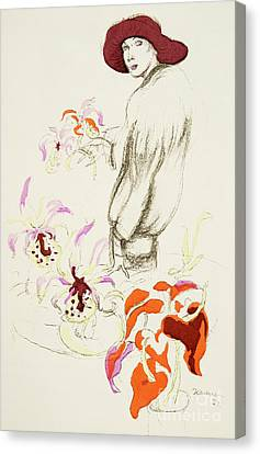 Purple Flowers Canvas Print - Orchids by German School