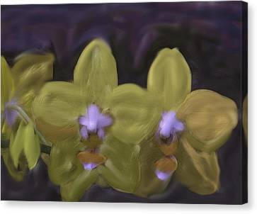 Canvas Print featuring the digital art Orchids Golden by The Art of Alice Terrill