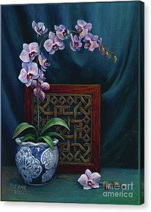 Orchids In A Chinese Pot Canvas Print