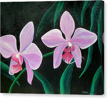 Canvas Print featuring the painting Orchids by Susan DeLain