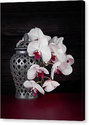 Orchids With Gray Ginger Jar Canvas Print