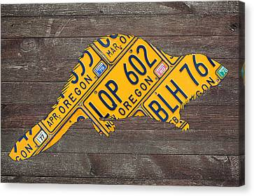 Oregon Beaver Official State Animal Shape Recycled License Plate Art Series Number 003 Canvas Print