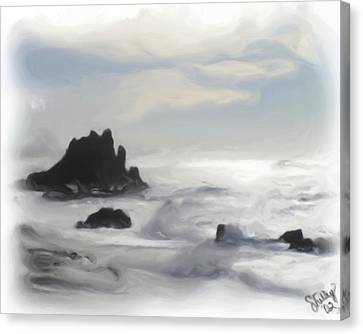 Canvas Print featuring the painting Oregon Coast by Shelley Bain