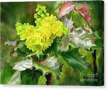 Oregon Grape Blossoms With Leaves Canvas Print by Sharon Freeman