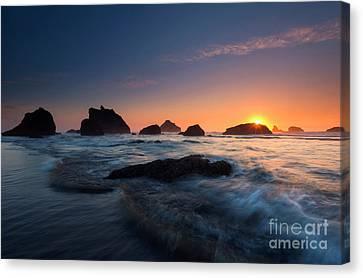 Oregon Islands Sunset Canvas Print by Mike Dawson