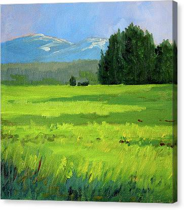 Canvas Print featuring the painting Oregon Meadow by Nancy Merkle