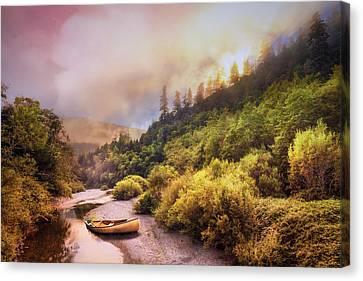 Oregon Mountain River Canvas Print by Debra and Dave Vanderlaan