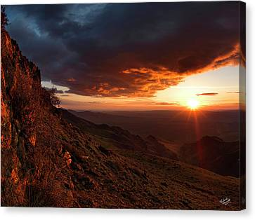 Canvas Print featuring the photograph Oregon Mountains Sunrise by Leland D Howard