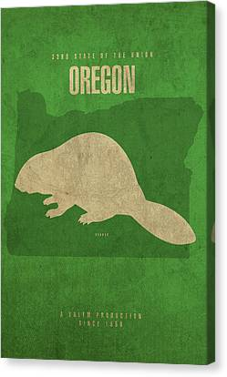 Oregon State Facts Minimalist Movie Poster Art Canvas Print
