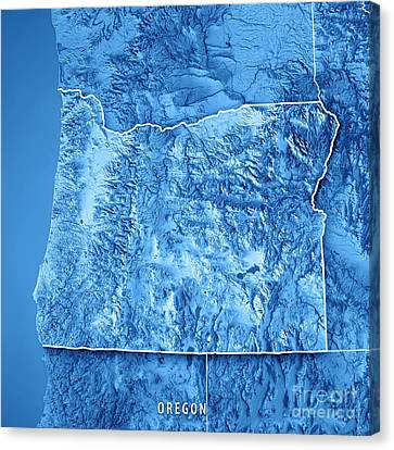 Canvas Print - Oregon State Usa 3d Render Topographic Map Blue Border by Frank Ramspott