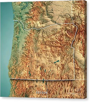 Canvas Print - Oregon State Usa 3d Render Topographic Map Border by Frank Ramspott
