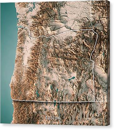 Canvas Print - Oregon State Usa 3d Render Topographic Map Neutral Border by Frank Ramspott