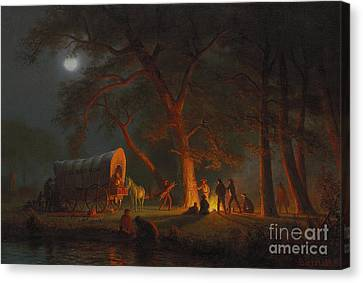Traveller Canvas Print - Oregon Trail by Albert Bierstadt