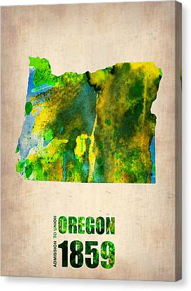 World Map Canvas Print - Oregon Watercolor Map by Naxart Studio