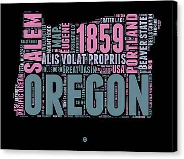Oregon Word Cloud 2 Canvas Print by Naxart Studio