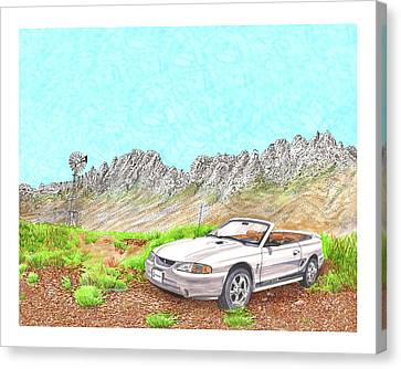 Canvas Print featuring the painting Organ Mountain Mustang by Jack Pumphrey