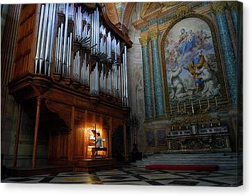 Organ Player In Saint Mary Of The Angels Basilica Rome Canvas Print by Reimar Gaertner