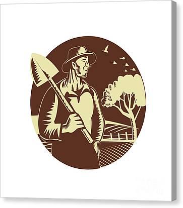 Organic Farmer Holding Shovel Farm Circle Woodcut Canvas Print by Aloysius Patrimonio