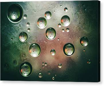 Canvas Print featuring the photograph Organic Silver Oil Bubble Abstract by John Williams