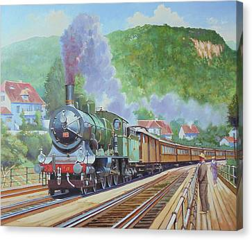 Canvas Print featuring the painting Orient Express 1920 by Mike Jeffries