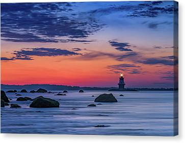 Orient Point Lighthouse At Dawn Canvas Print by Rick Berk