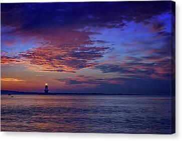 Orient Point Lighthouse At Sunrise Canvas Print by Rick Berk