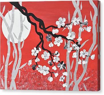 Oriental Art Cherry Blossom Art Red Zen Art Bamboo Painting Cherry Blossoms Painting Canvas Print